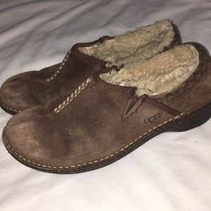 UGG clogs mules brown suede size 9